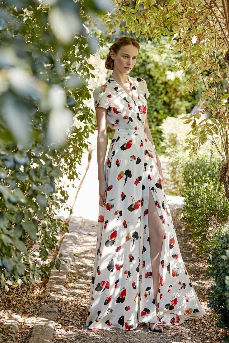 Hermoso vestido camisero largo en seda estampada ideal para Primavera-Verano