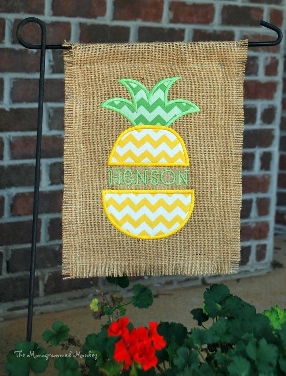 Custom Personalized Monogrammed Burlap Garden Yard Flag Chevron Fabric  Applique Pineapple With Name