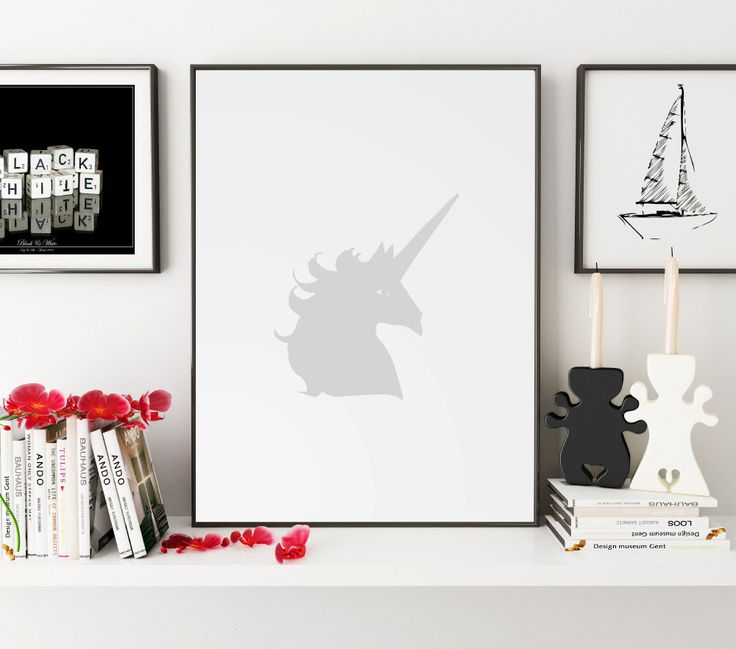Gray Wall Art, Gray Nursery, Unicorn, Unicorn Print, Unicorn Art, Unicorn Wall Art, Unicorn Nursery, Wall Art, Wall Print, Printable Art