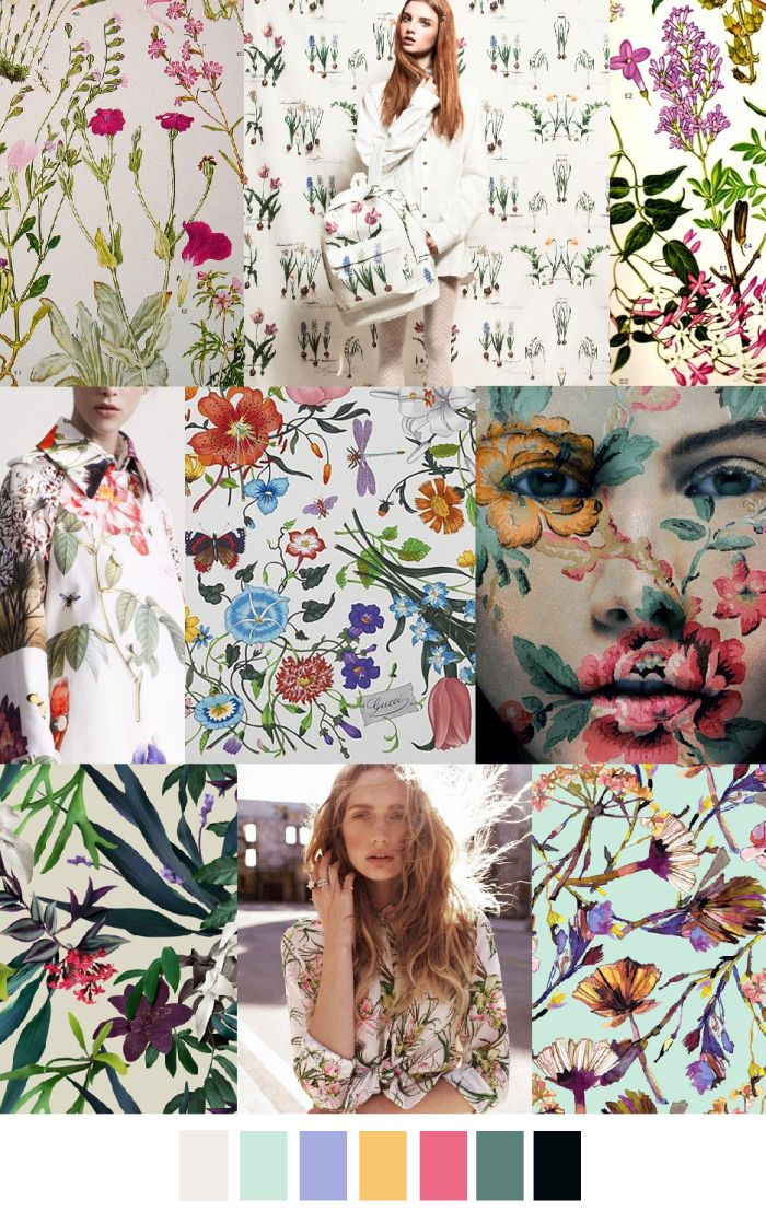 """PAINTED"" florals Research application BOTANICAL BLOOMS SS16 Pattern Curator"