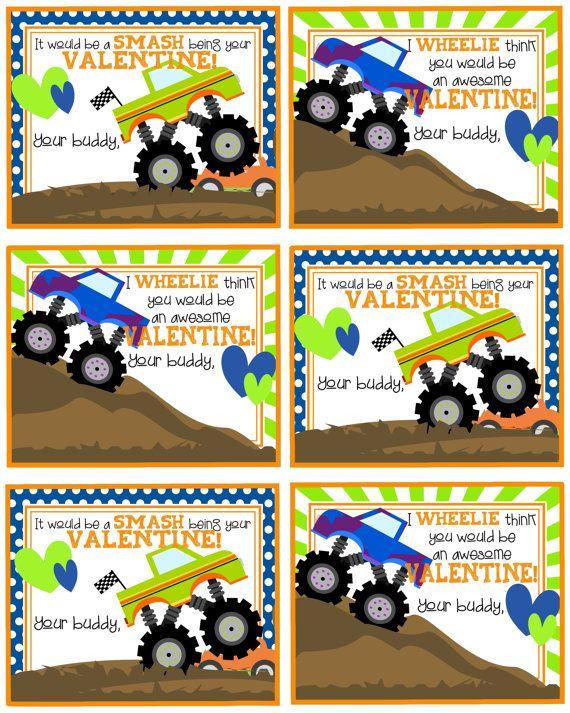 b3b24d54256577abb598e80ba7de955f printable valentine valentine crafts - Valentine's Day Cards - Kids Printable Valentine's - Monster Trucks - Bo...