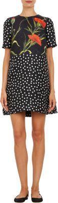 $2,375, Carnation Polka Dot A Line Mini Dress by Dolce