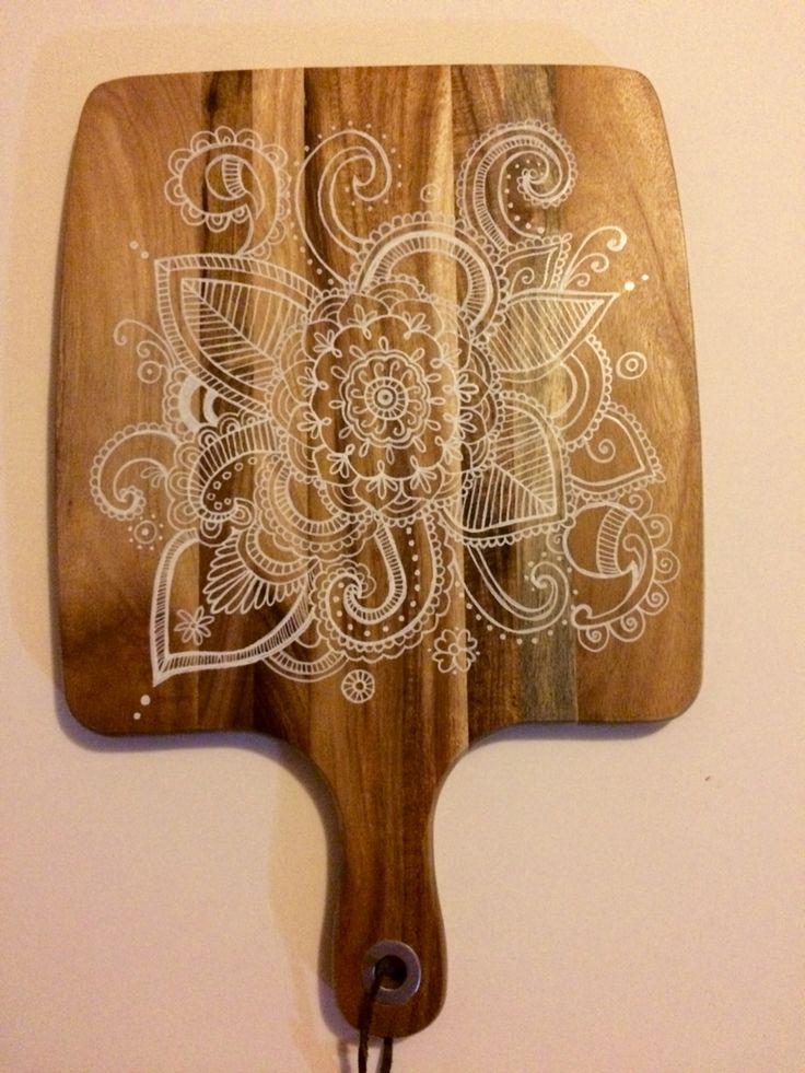 White mandala design chopping board