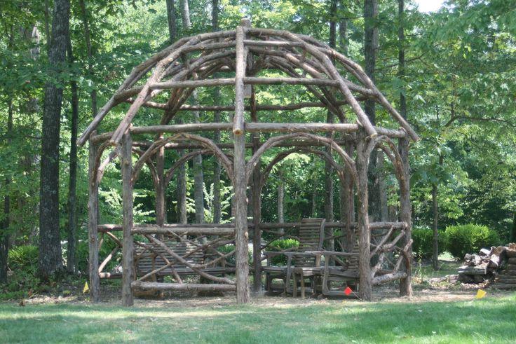 Rustic pergola custom made rustic dome roof cedar for Rustic gazebo plans