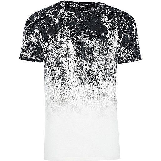 White faded glitch print muscle fit T-shirt - print t-shirts - t-shirts / vests - men