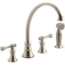 "Revival 4-Hole Kitchen Sink Faucet with 9-3/16"" Spout, Matching Finish Sidespray and Traditional Lever Handles"