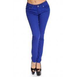 Royal Blue Zip Fly Button Closure Skinny Jeans
