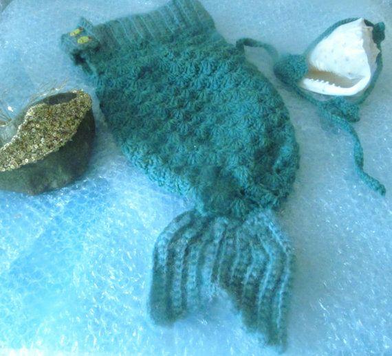 Newborn hand crocheted mermaid tail cocoon by TwistedHeadmistress