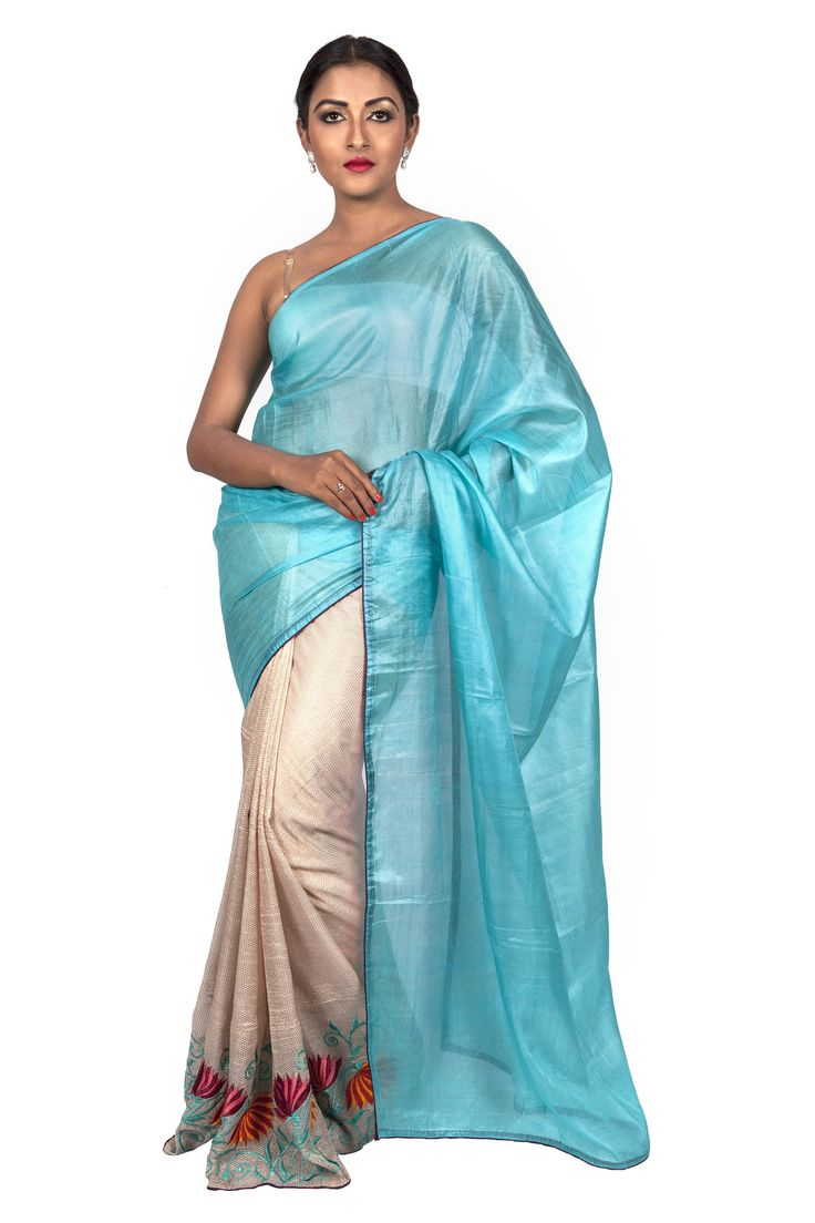 Festive Weaves Half n Half Tussar Light Blue Sari with Floral Embroidered Border on the Skirt. On SALE at 20% OFF. Only at http://shopping.threadturner.com/sarees/festive-weaves-festive-flora