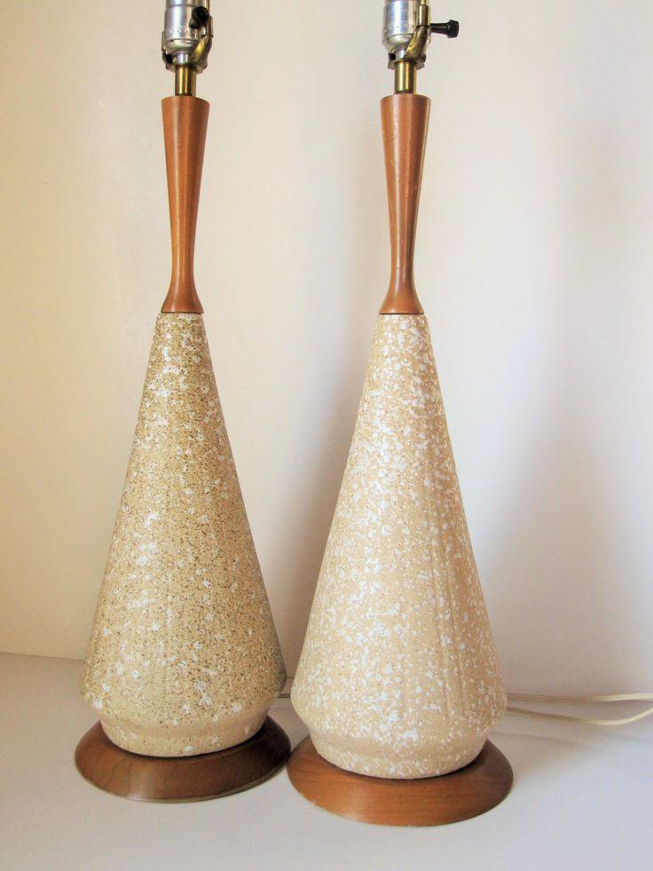 Danish Modern Two Ceramic And Teak Lamps 1950s