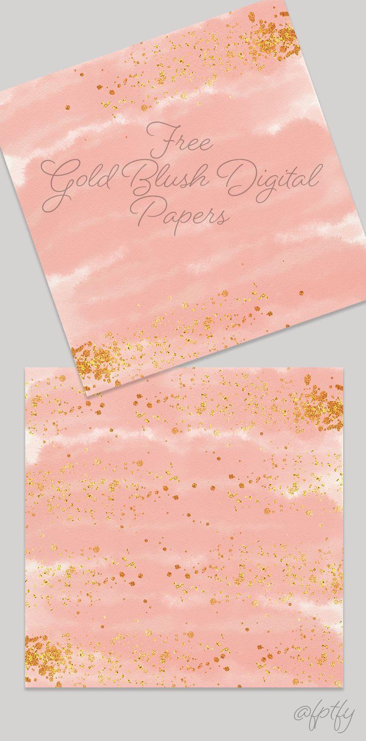 Free Gold Blush Digital Paper Backgrounds
