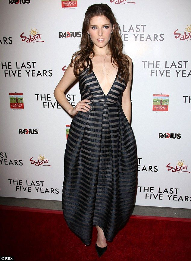 Wowing the crowd: Anna Kendrick captivated in a very deep-cut black and silver striped gow...