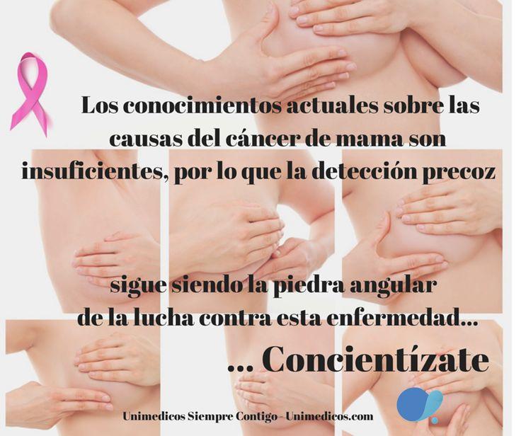 Los conocimientos actuales sobre las causas del cáncer de mama son insuficientes, por lo que la detección precoz sigue siendo la piedra angular de la lucha contra esta enfermedad…. Concientízate.