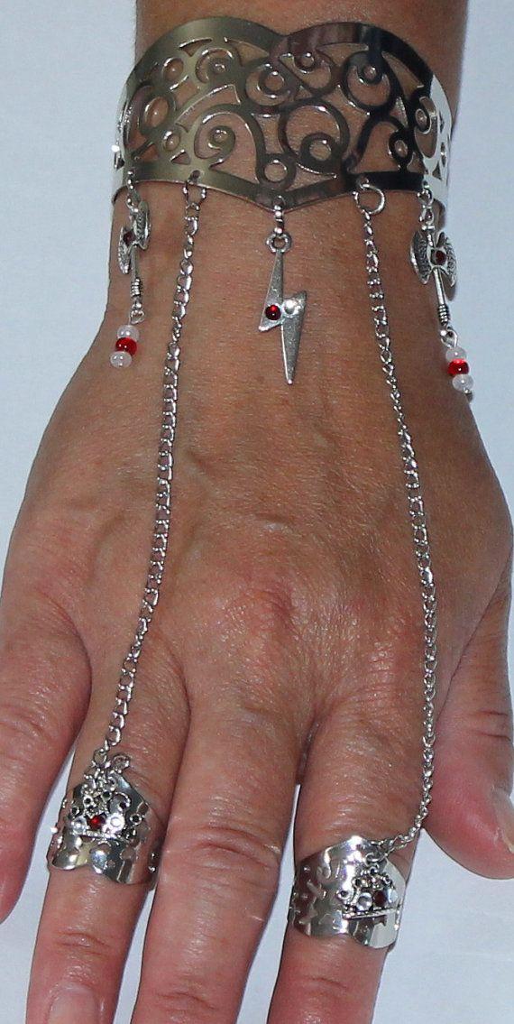 Chango Shango Orisha Bracelet/ring Combo Cuff by ModernOrisha