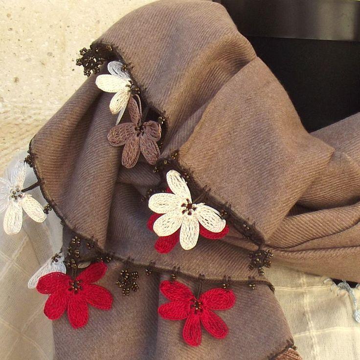 Turkish OYA Lace - Pashmina stole -Brown by DaisyCappadocia on Etsy