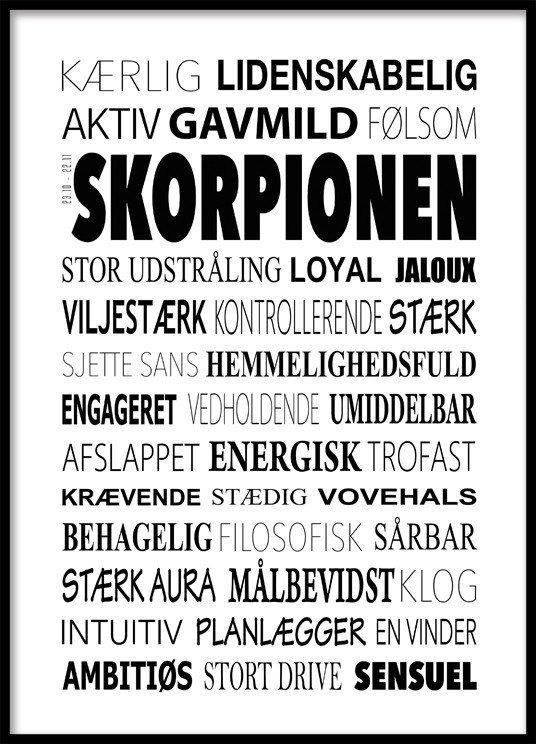 Skorpionen Plakat - Tekstcollage med stikord