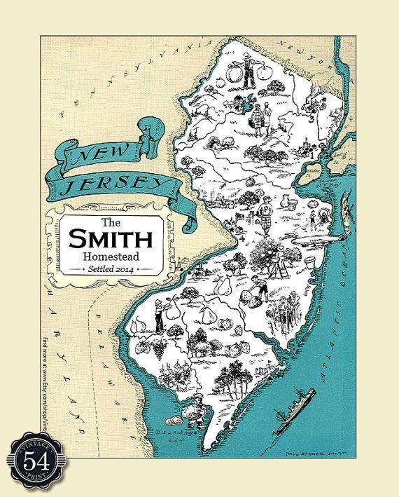 Custom New Jersey Map Nj Map Art Print Vintage Map Personalized Wedding Housewarming Gift Retro Home