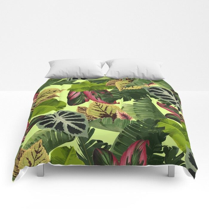 Tropical Duvet Cover, Full Queen King, Tropical Leaf Pattern, Pink Green Bed Cover, Banana Leaf Bedding, Green Comforter, Botanical Bedding by OlaHolaHolaBaby on Etsy https://www.etsy.com/uk/listing/462203539/tropical-duvet-cover-full-queen-king