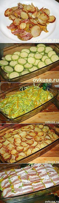 Запечённый картофель с беконом и овощами. - Простые рецепты Овкусе.ру