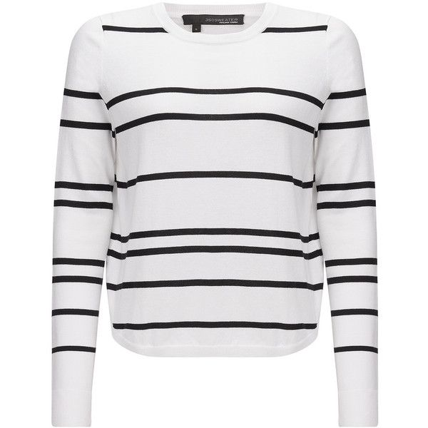 360 SWEATER Oakland Striped Sweater - White & Black (€89) ❤ liked on Polyvore featuring tops, sweaters, shirts, jackets, jumper, black and white shirt, black and white sweater, black white striped shirt, black and white stripe top and black and white striped jumper