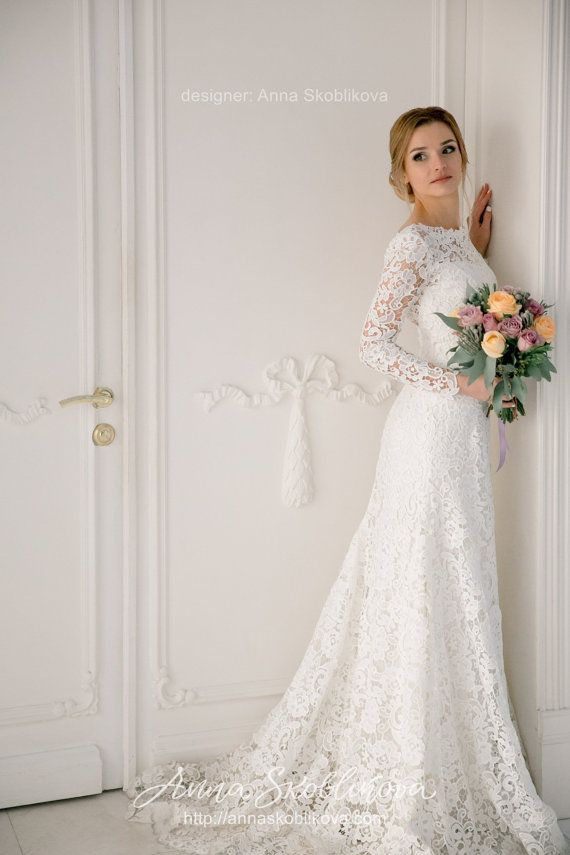 Lengthy sleeves wedding ceremony costume, Wedding ceremony robe, Lace wedding ceremony costume, Mermaid wedding ceremony dr…