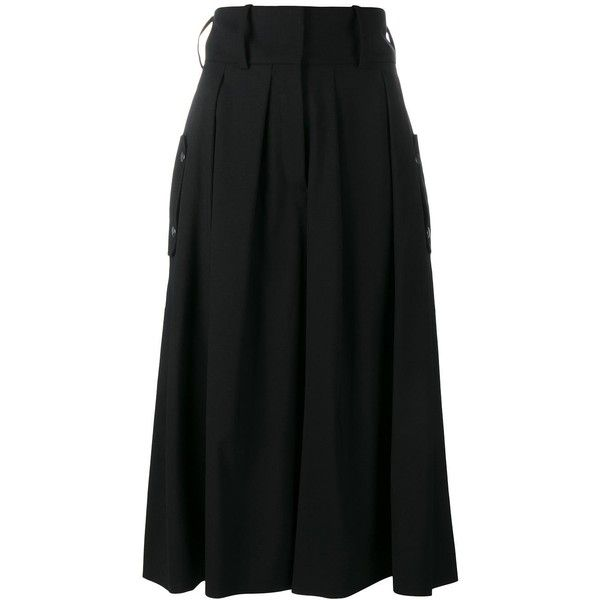 J.W.Anderson pleat front culottes (5.149.090 IDR) ❤ liked on Polyvore featuring pants, capris, black, wide leg trousers, high waisted cropped pants, high waisted pants, high-waisted pants and high rise pants