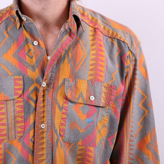Tribal Navajo Mens Cotton Shirt / Vintage Autumn by BetaPorHomme, $32.00