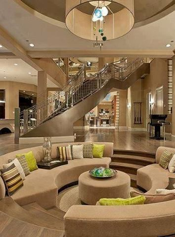 cool townhouse living room design | Sunken Living Rooms, Step-Down Conversation Pits Ideas ...
