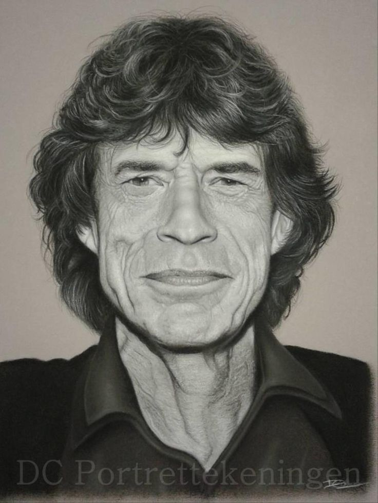 """""""Mick Jagger"""" realistic portrait drawing made with pastelpencils"""
