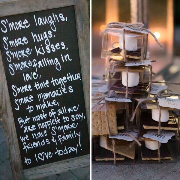 EA: For the s'more bar --> doubles as a wedding favor AND a treat :) chic wedding favors sign - Google Search