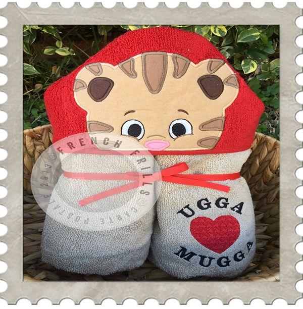 Boy Tiger hooded towel design. #Embroidery #Applique