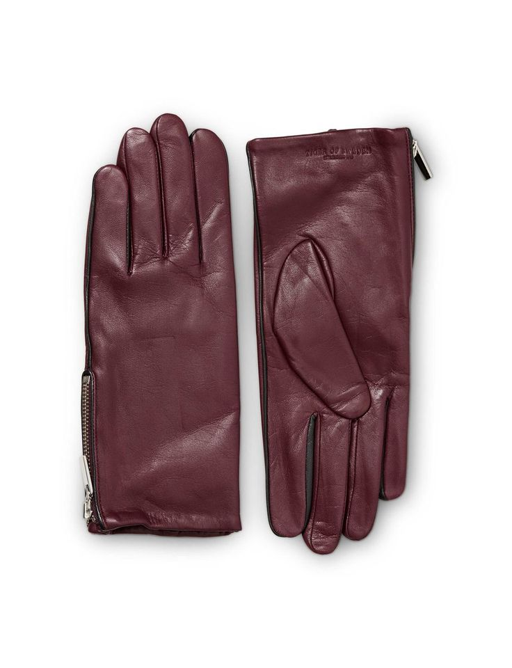 PISSARRO GLOVES-Women's gloves in nappa leather. Features zip detail and contrast coloured piping. Fleece lining at inside. Embossed Tiger of Sweden logo.
