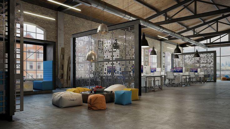 Office design loft it office interior design 3dtotal - Office space interior design ideas ...