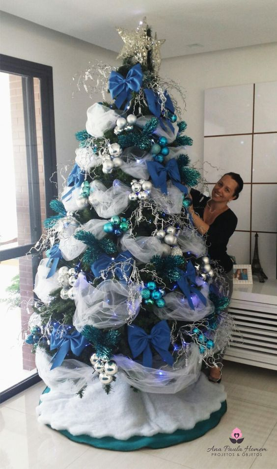 Decoraciones de arboles de navidad en azul 2018 - Decoracion navidad moderna ...