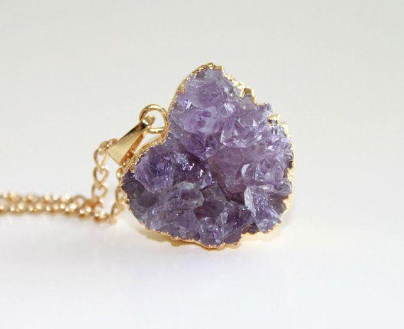 SALE 15 February Birthstone Amethyst Druzy Necklace. by GSGjewelry, $56.50