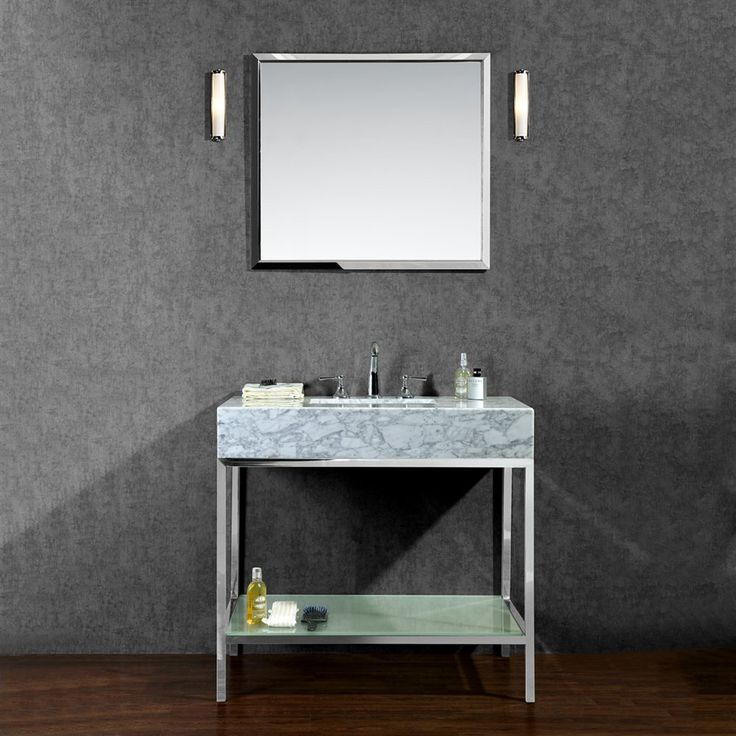 Pics On Seacliff by Ariel Brightwater Single Sink Vanity Set with Carrera White Marble Countertop Stainless Steel