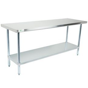 """Regency 30"""" x 72"""" 18-Gauge 304 Stainless Steel Commercial Work Table with Galvanized Legs and Undershelf"""