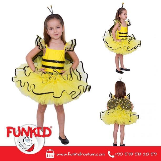 """""""Funkid Ülkesi'nin çalışkan arıları sabah erkenden uyanırlardı. Her gün yüzlerce çiçeğe konarlar, peteklerini balla doldururlardı."""" Likra kumaştan yapılmış kostümümüz tül detaylarla zenginleştirildi. Kanat ve taç aksesuarlarıyla, çocuğunuz kostümüne bayılacak. funkidkostum.com veya 0533 513 28 59 dan ulaşabilirsiniz. #ari #arikostum #hayvankostum #cocukgiyim #kids #çocuk #costume #kostum #funkidkostüm"""