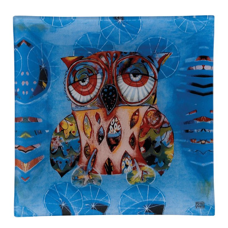D111 Owl Glass Plate 20cm (Pack 12)- The Cat and Owl collection designed by Michelle Allen is full of vibrant colours alongside quirky and eye-catching designs #enesco #bold #practical
