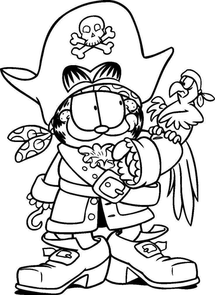 garfield become a pirate and a bird - Garfield Halloween Coloring Pages