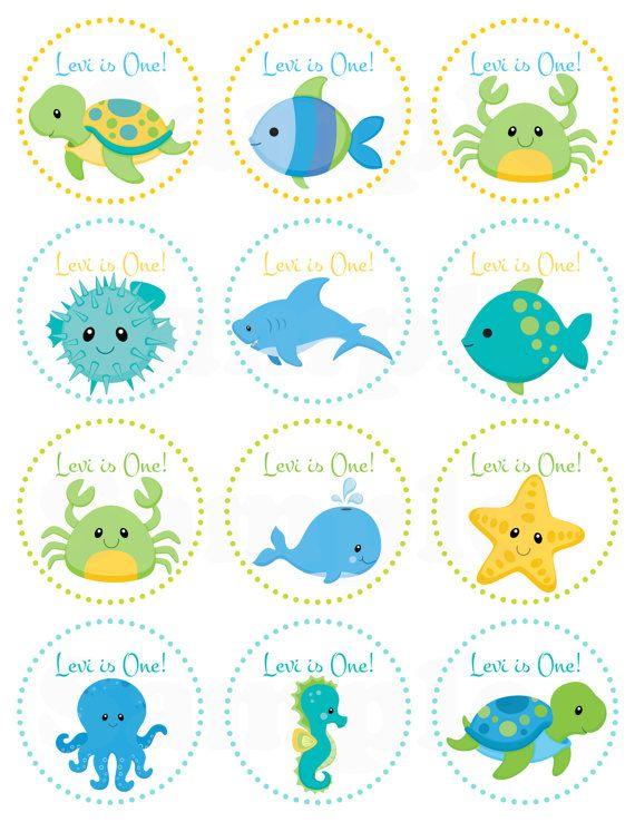 Azul en el cumpleaños de mar personalizada imprimible