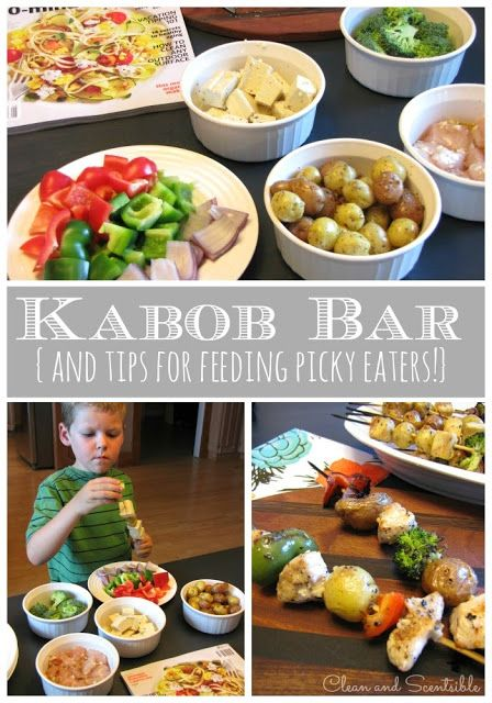 Clean & Scentsible: Create an easy to make kabob bar for a healthy meal that can easily be adapted for picky eaters.  Lots of other tips for feeding picky eaters too!  #BTSatSafeway #PMedia #ad