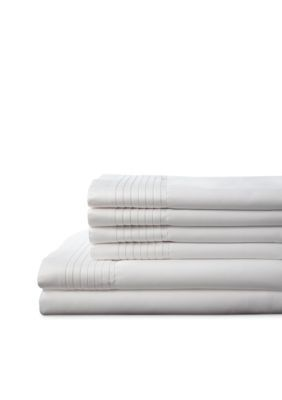 Elite Home Products  Lancaster 1000 Thread Count Sheet Set - White - Cal. King