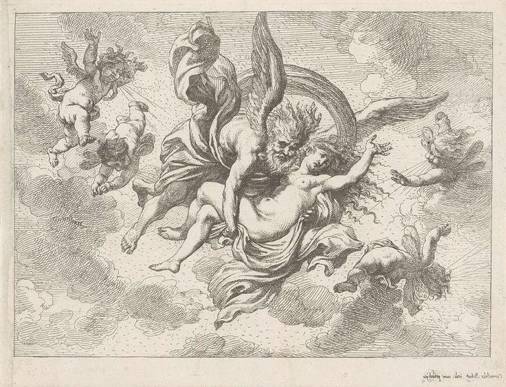 Cornelis Schut (I) | Boreas en Oreithyia, Cornelis Schut (I), 1618 - 1655 | Boreas vliegt weg met de wanhopige Oreithyia in zijn armen. Om hen heen vliegen blazende putti.