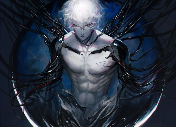 Anime Original Cyborg Short Hair White Hair Yellow Eyes ...