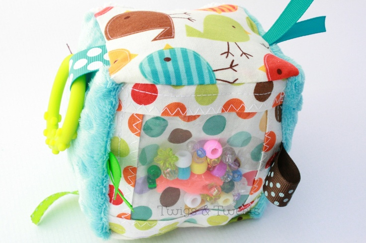 Sensory Play Cube- with ribbon and crinkle crackle sewn inside.
