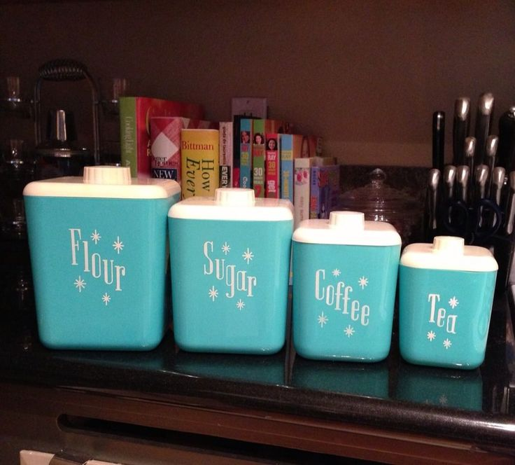 More Vintage Lustro Ware Turquoise Canisters.  -Lindsay