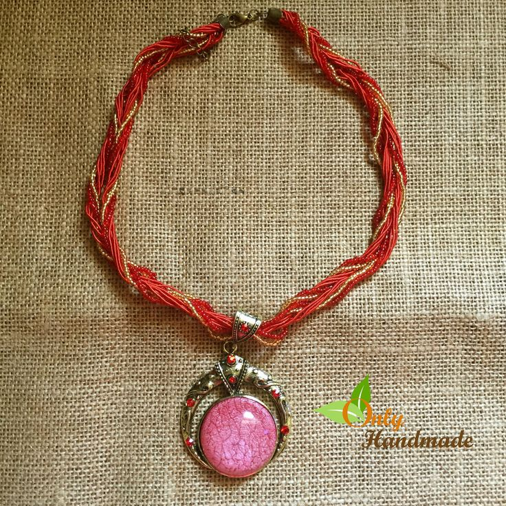 Bohemian Multi-layer Beads with Red Crystal Gem Grain Pendant