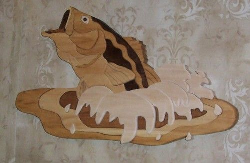 Large Mouth Bass Fish Wood Carving Intarsia Wall Hanging ART | eBay