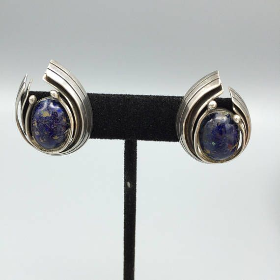 Vintage Piedra Y Plata Lapis and Sterling Earrings Taxco